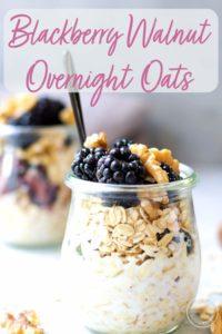 Blackberry Walnut Overnight Oats in jars