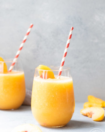 Peach White Wine Slushies in glasses