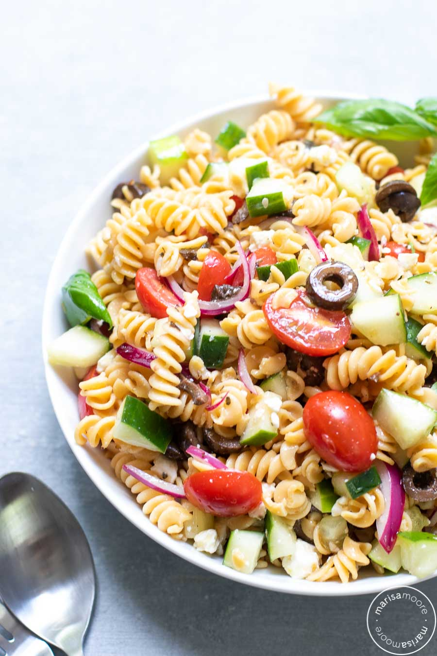 CHickpea Pasta Salad in White Bowl