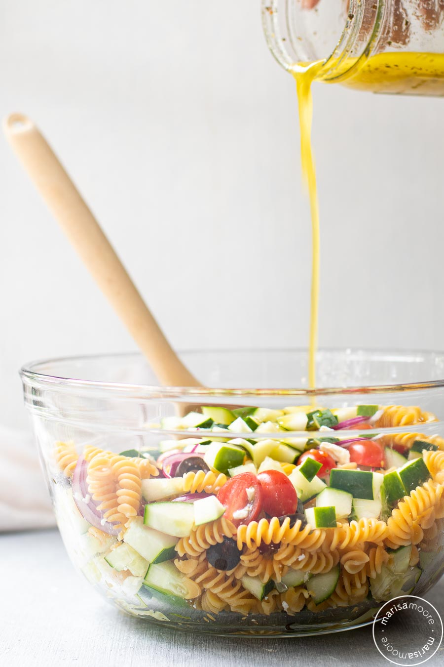 Chickpea Pasta with Dressing Pour