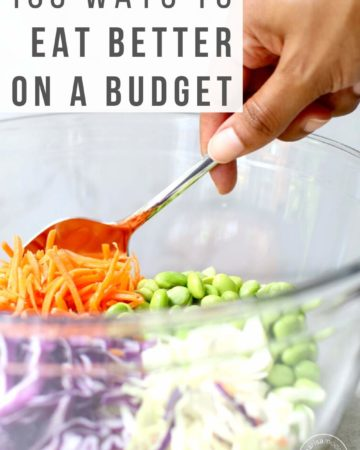 Bowl of salad being stirred with text 100 Ways to Eat Healthy for Less