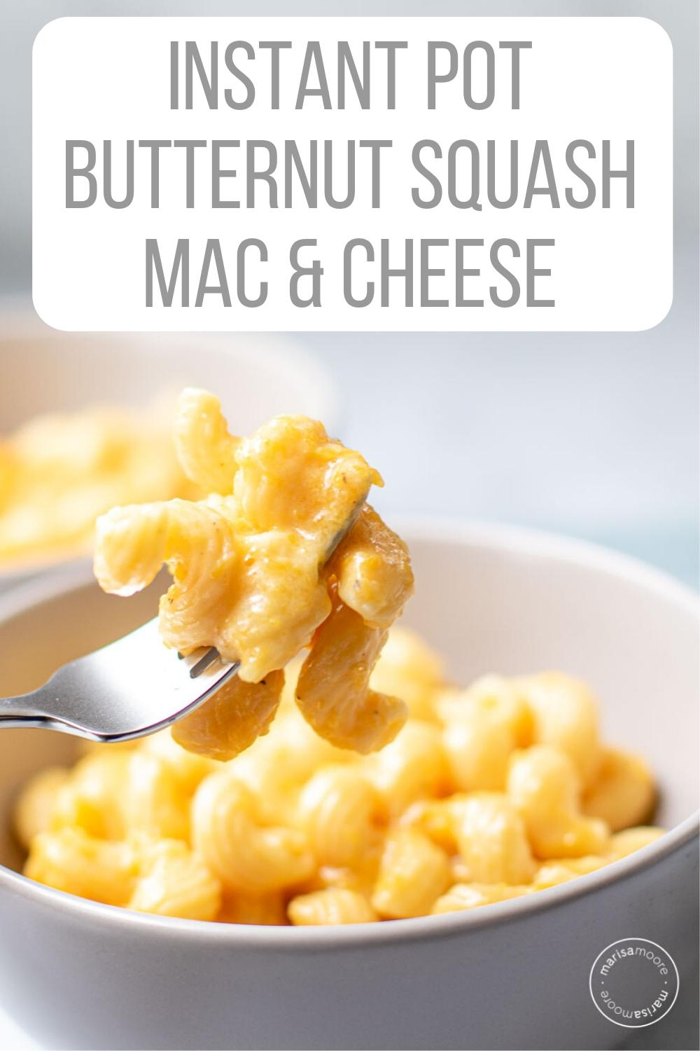 Instant Pot Butternut Mac Cheese on a fork
