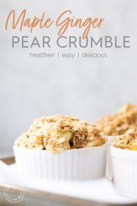 Pear crumble in ramekins on a pan