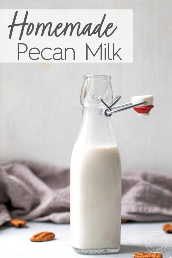 bottle of homemade pecan milk