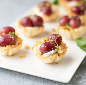 Grape Cheese Walnut Bites on a w