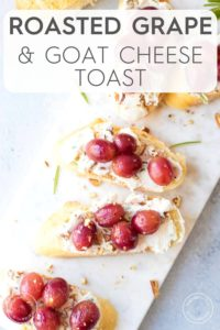 Grape and Goat Cheese Toast on white board