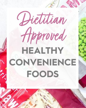 Bags of vegetables Image with Dietitian Approved Healthy Convenience Foods Overlay