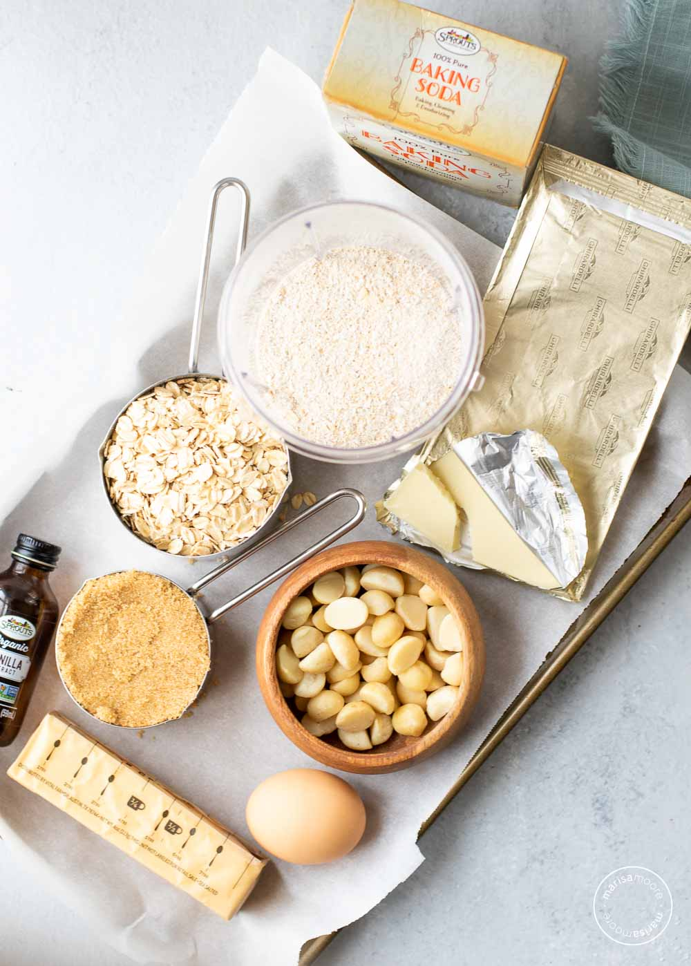 ingredients for cookies on a baking sheet