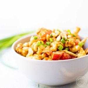 Peanut Cauliflower Stir Fry in a bowl