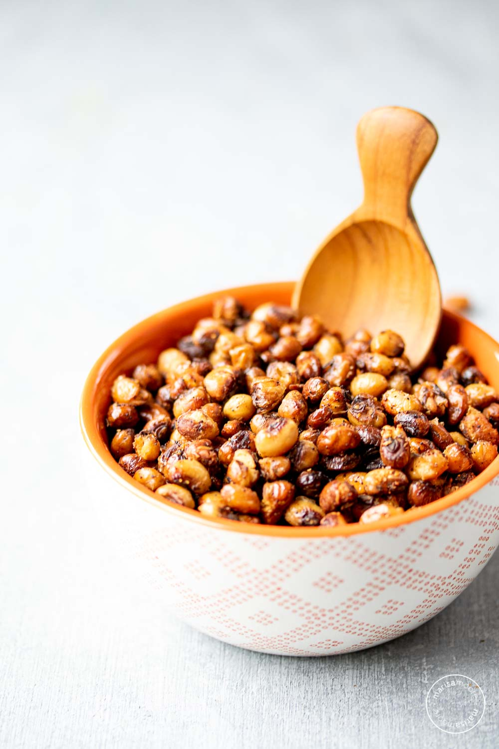 Roasted Black-Eyed Peas in a small bowl with a scoop