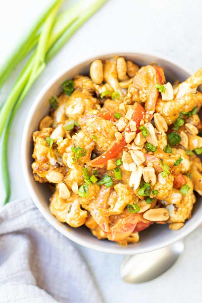 cauliflower stir-fry in a bowl