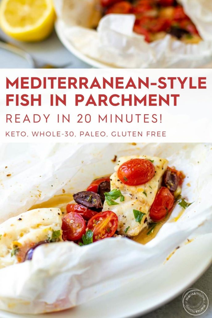 fish in parchment on a plate with lemon
