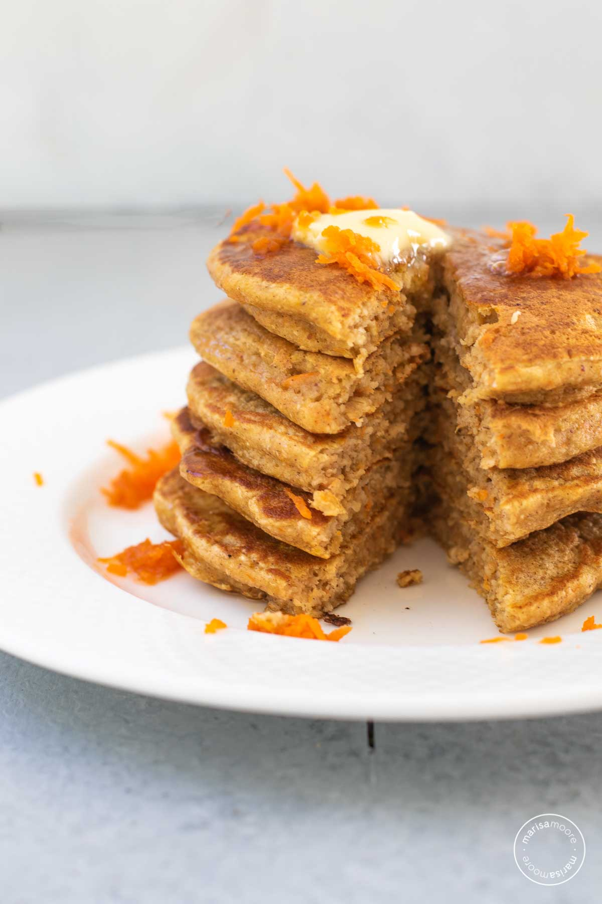 Stack of carrot cake pancakes