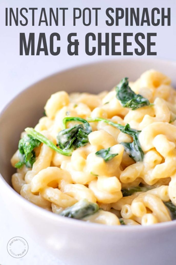bowl of spinach mac and cheese