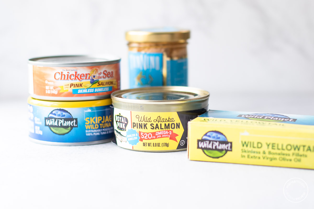 cans of salmon, sardines and tuna