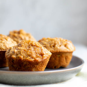 Pear muffins on a blue plate