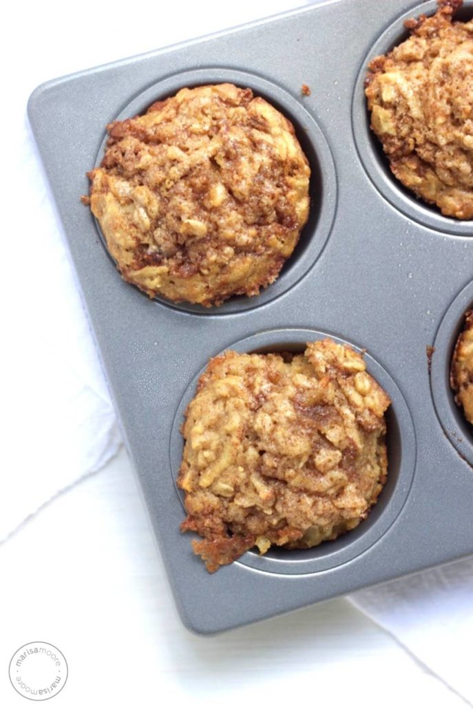 Baked muffins in a tin