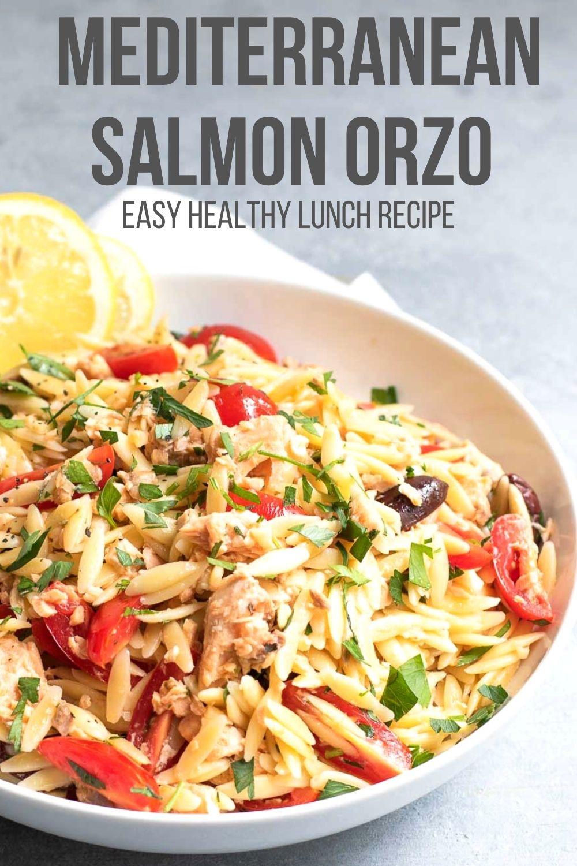 Mediterranean Salmon Orzo Salad in a white bowl