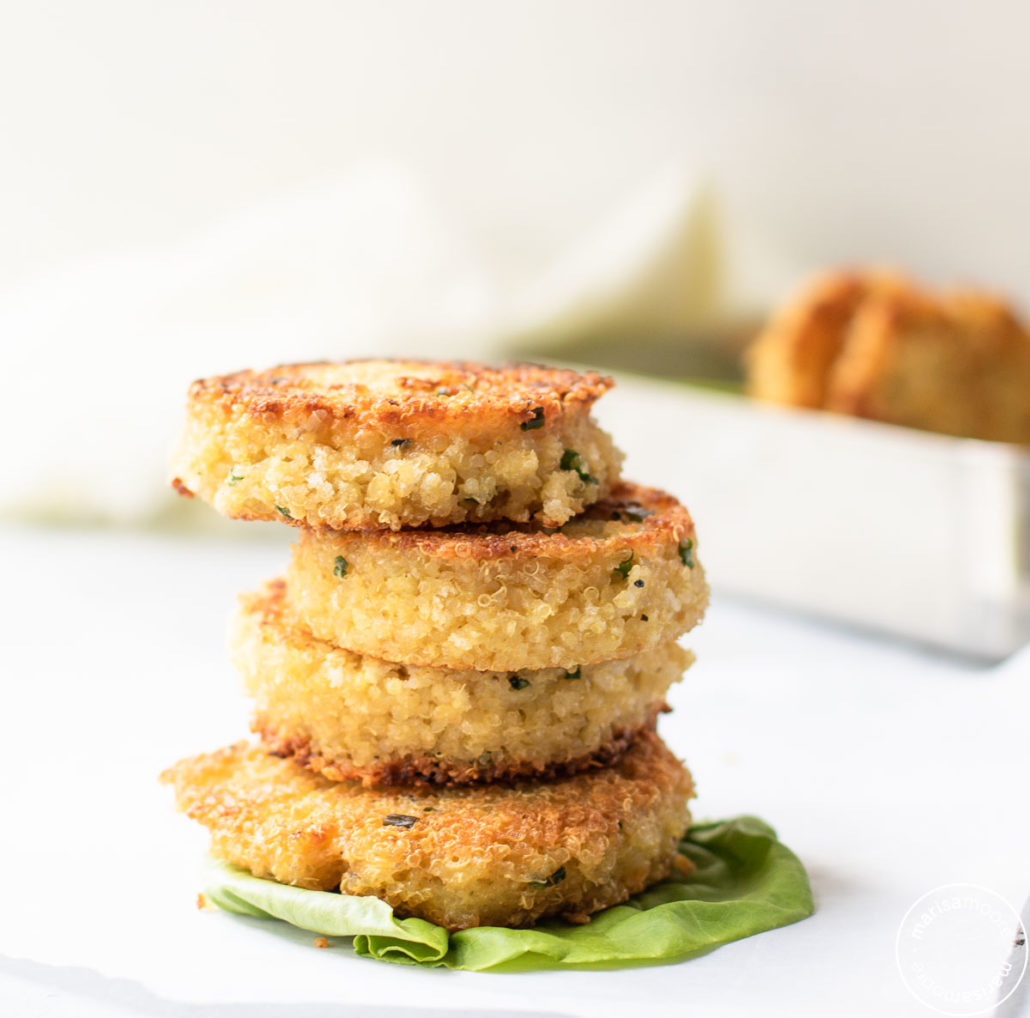 Crispy Quinoa Patties Stacked up