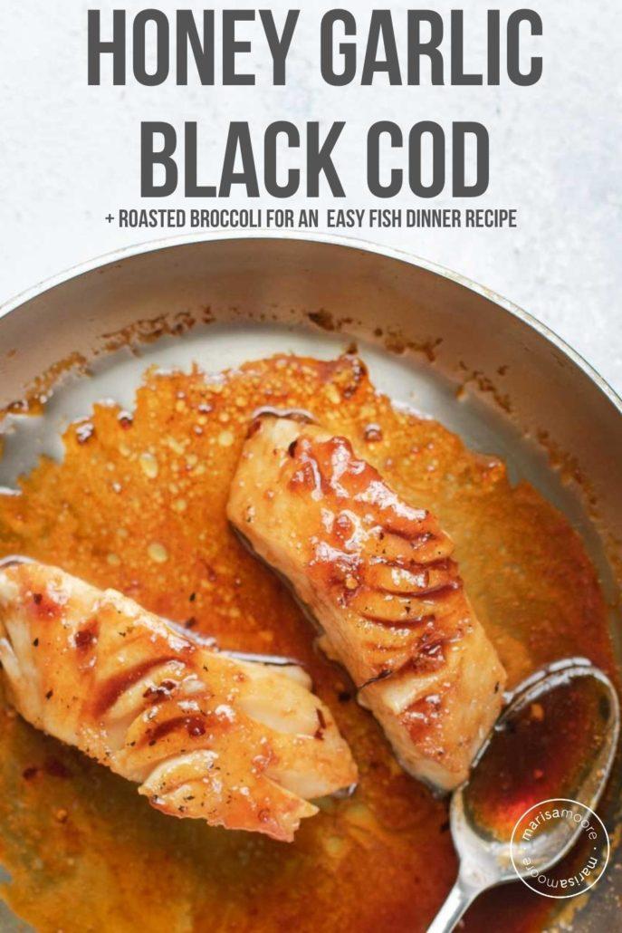 honey garlic glazed black cod in a skillet