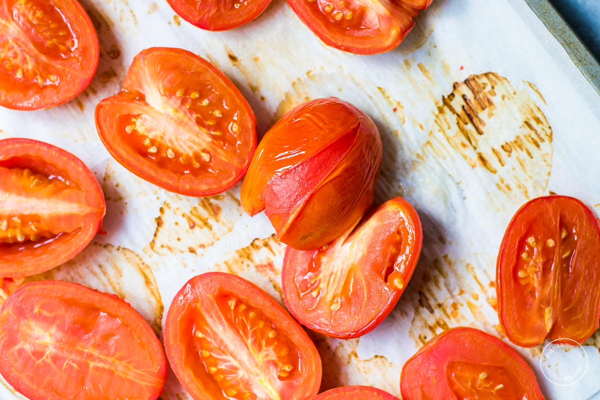 roasted tomatoes on parchment