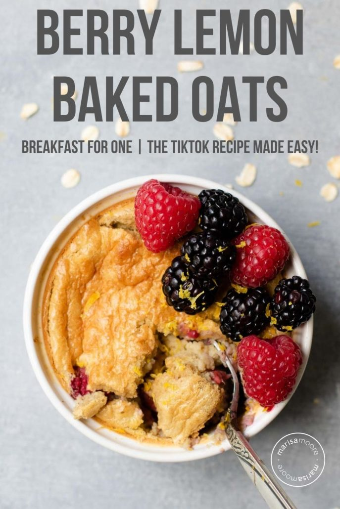 Baked Oats in a ramekin with berries on top