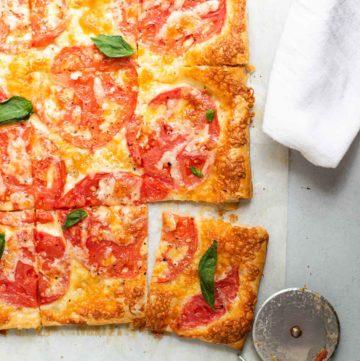 Cheese Tomato Tart on parchment