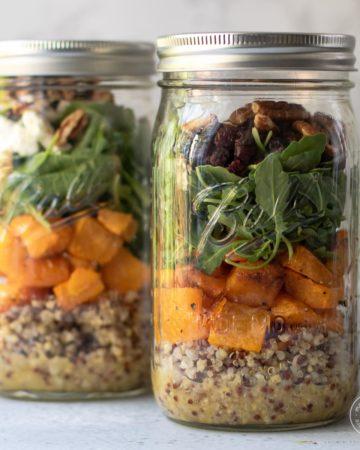 Fall Mason Jar Salad in two quart jars