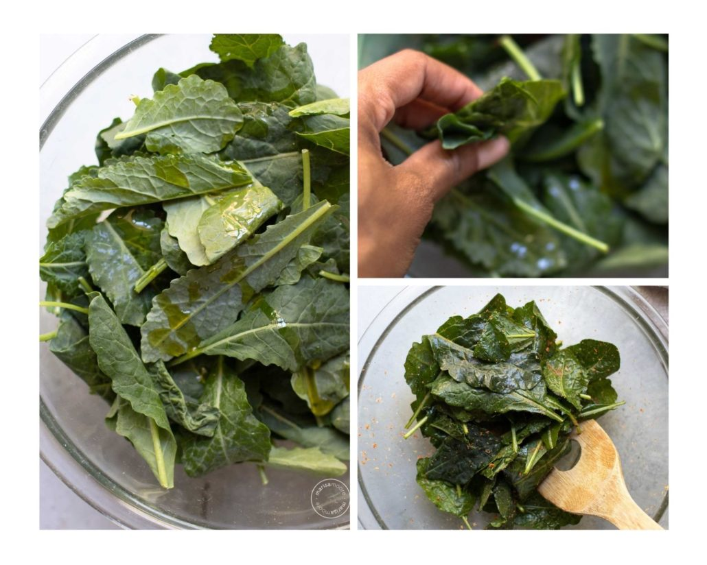 Collage photo with a bowl of kale with oil, Marisa's hand massaging the kale, then a bowl of seasoned kale with a wooden spoon.
