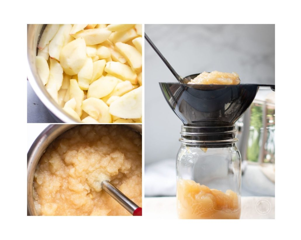 3 image collage of the apples in the pot, apples being pureed, then ladled into one jar.